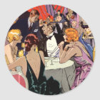 Vintage Art Deco Cocktail Party at Nightclub Classic Round Sticker