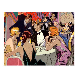 Vintage Art Deco Cocktail Party at Nightclub Postcard