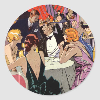 Vintage Art Deco Cocktail Party at Nightclub Round Sticker