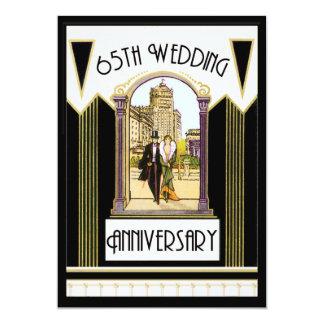 Vintage Art Deco Couple 65th Wedding Anniversary 13 Cm X 18 Cm Invitation Card