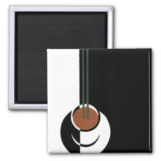 Vintage Art Deco Cup of Coffee with Steam Square Magnet
