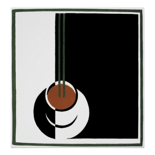 Vintage Art Deco Cup of Coffee with Steam Print