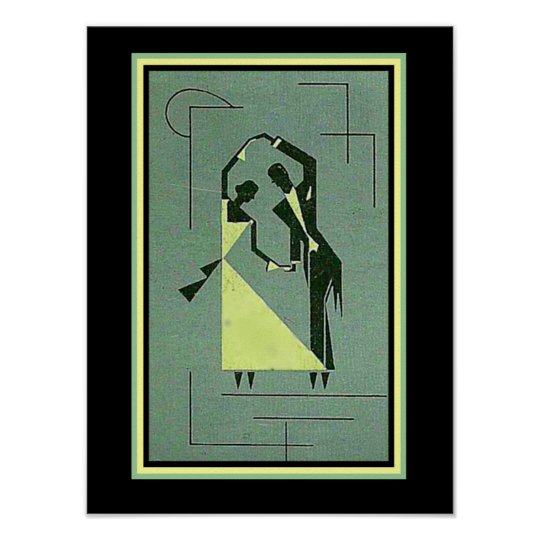 Vintage Art Deco Dancers Poster 12 x 16