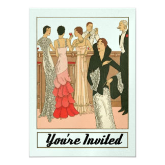 Vintage Art Deco Elite Sophisticated Party 13 Cm X 18 Cm Invitation Card