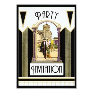 Vintage Art Deco Engagement Cocktail Party Custom 13 Cm X 18 Cm Invitation Card