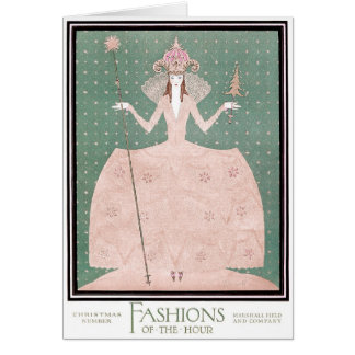 "VINTAGE ART DECO ""FASHIONS OF THE HOUR"" CHRISTMAS CARD"