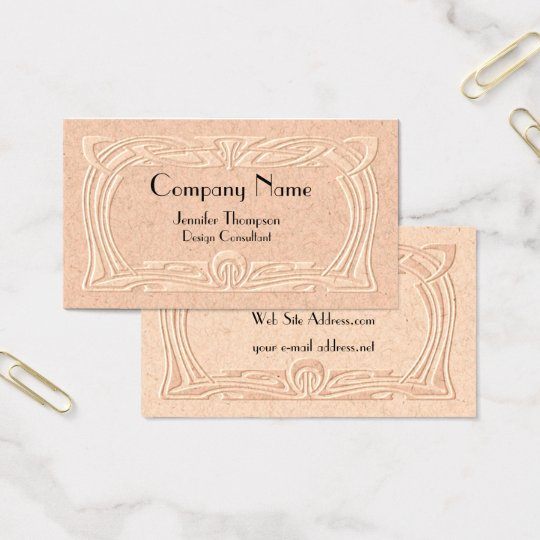 Vintage Art Deco Faux Embossed Business Card