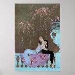 Vintage Art Deco Fireworks Le Feu, George Barbier Poster