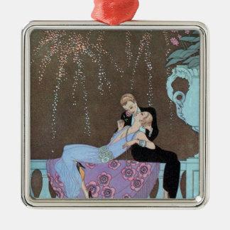 Vintage Art Deco Fireworks Le Feu, George Barbier Silver-Colored Square Decoration