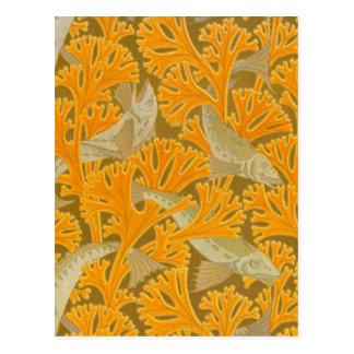 Vintage Art Deco Fish and Yellow Coral Design Postcard