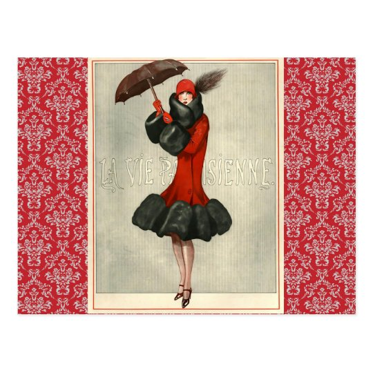 Vintage Art Deco Flapper French Fashion Postcard