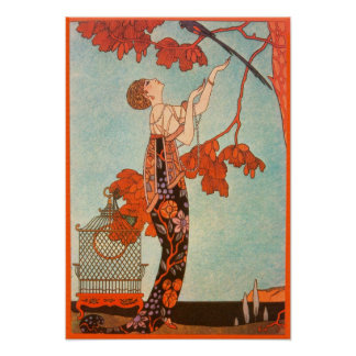 Vintage Art Deco, Flighty Bird by George Barbier Poster