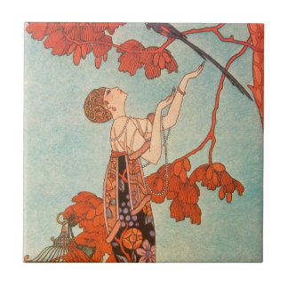 Vintage Art Deco, Flighty Bird by George Barbier Small Square Tile
