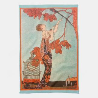 Vintage Art Deco, Flighty Bird by George Barbier Kitchen Towel