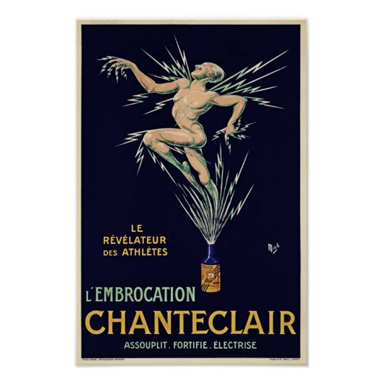 Vintage Art Deco French Wine Ad Poster
