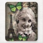 vintage art deco gatsby girl Parisian fashionista Mouse Mat