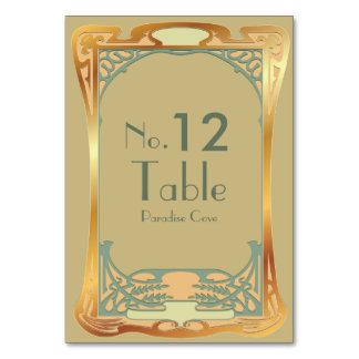 Vintage Art Deco Gatsby Inspired Numbers Table Card