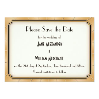 Vintage Art Deco Gatsby Style Save the Date 11 Cm X 16 Cm Invitation Card
