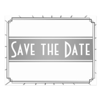 Vintage Art Deco Gatsby Style Save the Date Postcard