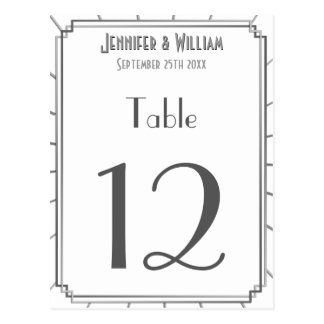 Vintage Art Deco Gatsby Style Wedding Table Number Postcard