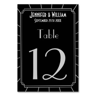Vintage Art Deco Gatsby Style Wedding Table Number Table Cards