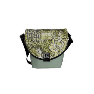 Vintage Art Deco Graceful Women Mini Messenger Messenger Bags