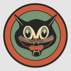 Vintage Art Deco Halloween Cat Sticker