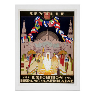 Vintage art deco Hispano-American expo Sevilla Poster