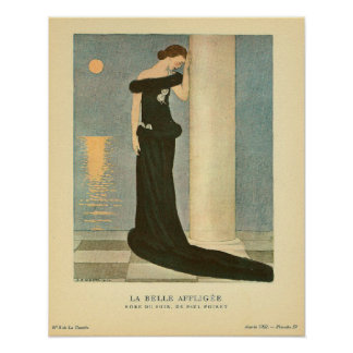 Vintage Art Deco Illustration ~ La Belle Affligee Poster