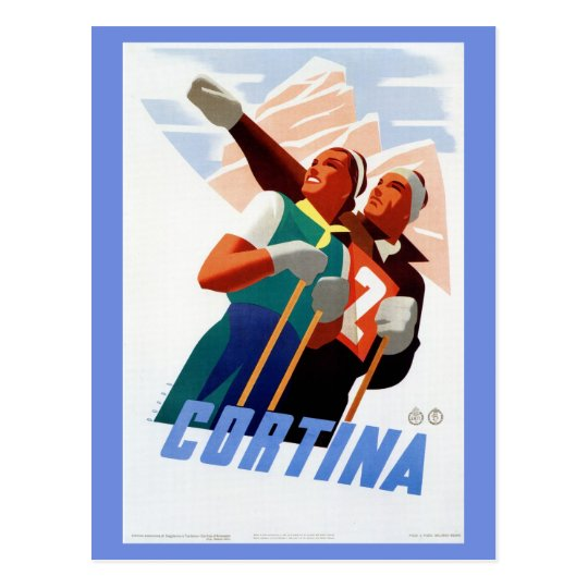 Vintage art deco Italian ski travel Postcard