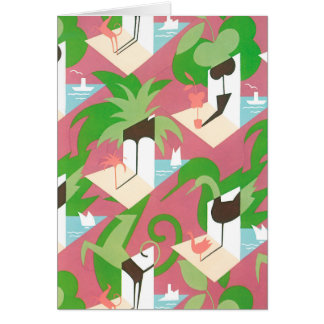 Vintage Art Deco Jazz Pochoir Palm Trees and Birds Card