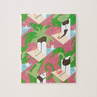 Vintage Art Deco Jazz Pochoir Palm Trees and Birds Jigsaw Puzzle
