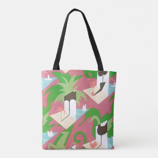 Vintage Art Deco Jazz Pochoir Palm Trees and Birds Tote Bag