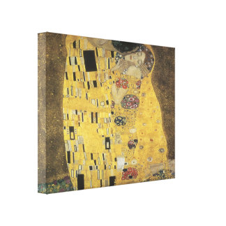 Vintage Art Deco Kiss 1907 3D Wrapped Canvas Gallery Wrapped Canvas