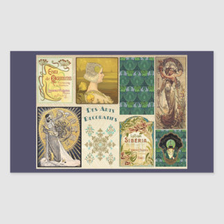 Vintage Art Deco Ladies Rectangular Sticker