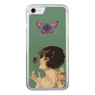 Vintage Art Deco Lady Butterfly Pretty Flowers Carved iPhone 7 Case