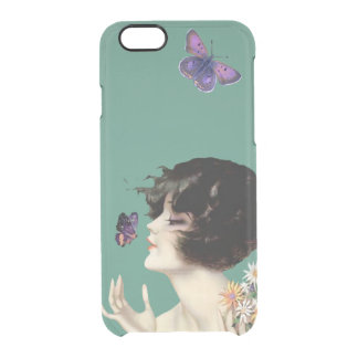 Vintage Art Deco Lady Butterfly Pretty Flowers iPhone 6 Plus Case
