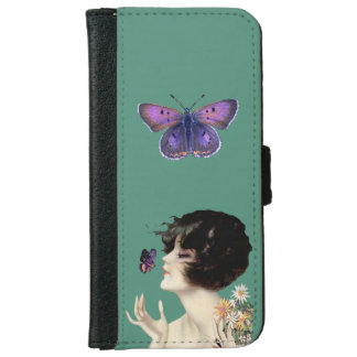 Vintage Art Deco Lady Butterfly Pretty Flowers iPhone 6 Wallet Case