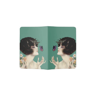 Vintage Art Deco Lady Butterfly Pretty Flowers Passport Holder
