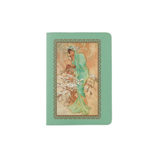 Vintage Art Deco Lady Green Golden Tree