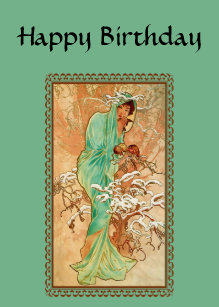 Vintage Art Deco Lady Green Golden Tree Birthday Card
