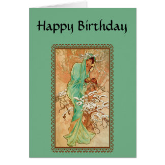 Vintage Art Deco Lady Green Golden Tree Birthday Card