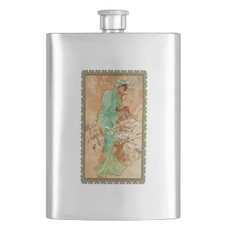 Vintage Art Deco Lady Green Golden Tree Flask