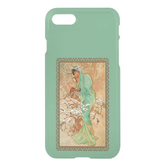Vintage Art Deco Lady Green Golden Tree iPhone 7 Case