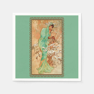 Vintage Art Deco Lady Green Golden Tree Paper Serviettes