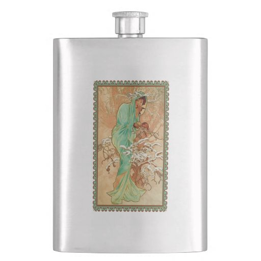 Vintage Art Deco Lady Green Golden Tree Flask