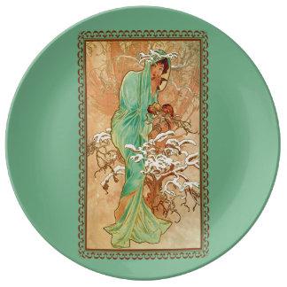 Vintage Art Deco Lady Green Golden Tree Porcelain Plate