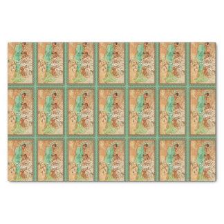 "Vintage Art Deco Lady Green Golden Tree 10"" X 15"" Tissue Paper"