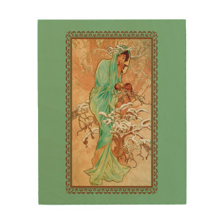 Vintage Art Deco Lady Green Golden Tree Wood Canvas