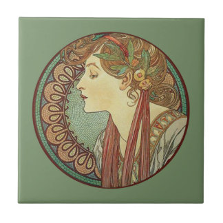 Vintage Art Deco Lady Green Mosaic Tiles Leaves